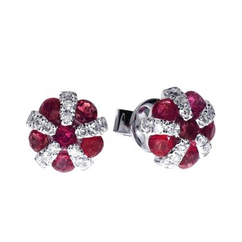 14k White Gold Ruby and Diamond Ball Earrings