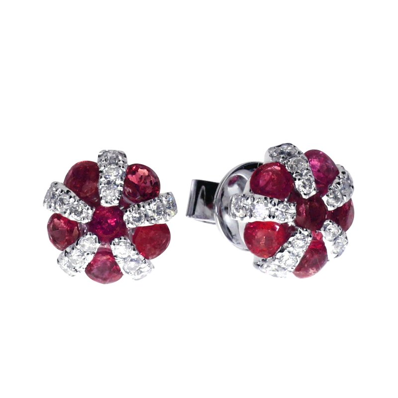 Color Merchants 14k White Gold Ruby and Diamond Ball Earrings