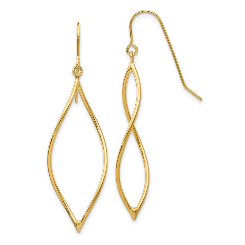 Quality Gold 14k Polished Twisted Oblong Dangle Earrings
