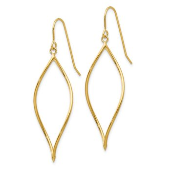14k Polished Twisted Oblong Dangle Earrings