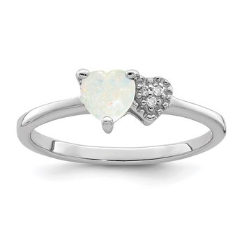 Sterling Silver Polished Opal and Diamond Ring