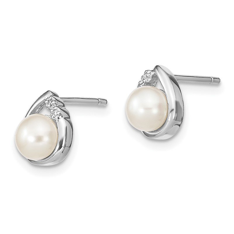 Quality Gold Sterling Silver Rhodium-plated 5mm FW Cultured Pearl & Diamond Post Ear