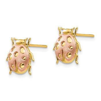 14k Two-Tone Ladybug Post Earrings