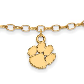 Gold-Plated Sterling Silver Clemson University NCAA Bracelet
