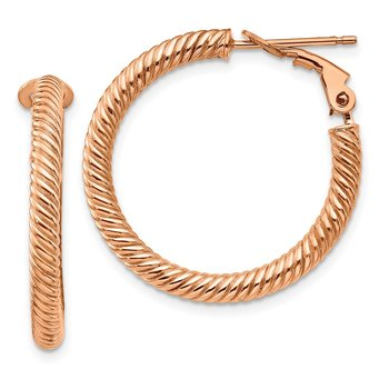 10k 3x20 Rose Gold Twisted Round Omega Back Hoop Earrings
