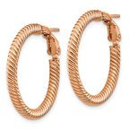 Quality Gold 10k 3x20 Rose Gold Twisted Round Omega Back Hoop Earrings