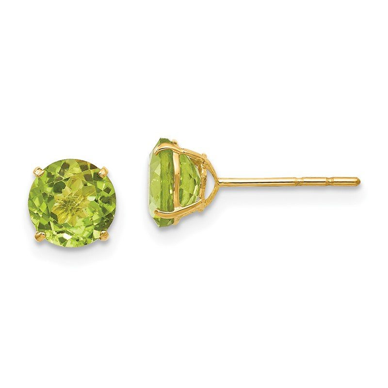 Quality Gold 14k Madi K Round Peridot 6mm Post Earrings