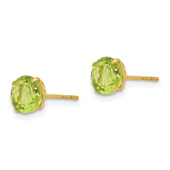 14k Madi K Round Peridot 6mm Post Earrings
