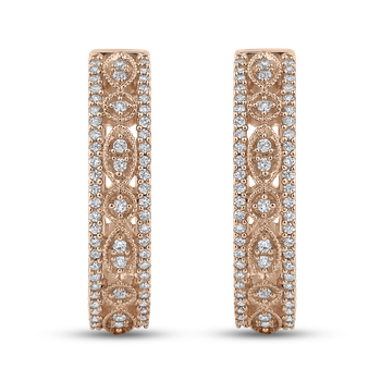 10K Rose Gold Round 1/2 ct Diamond Hoop Earrings