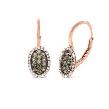 Champagne and White Diamond Oval Shape Earrings in 14K Rose Gold with 74 Diamonds Weighing  .46ct tw