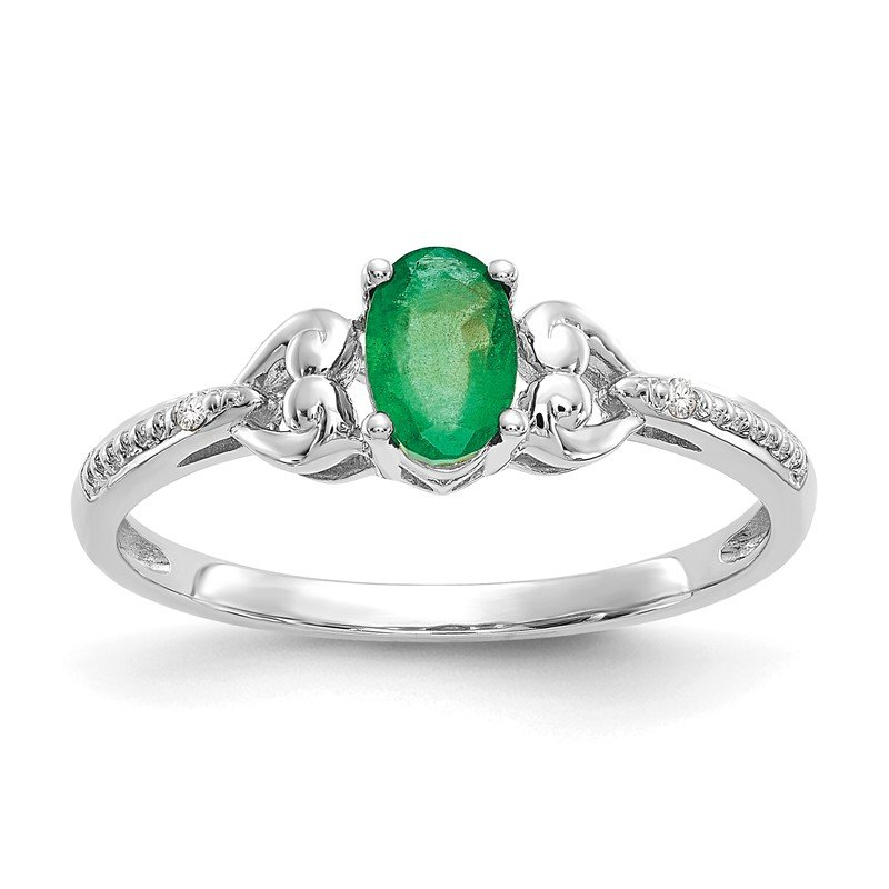 Quality Gold 10k White Gold Emerald and Diamond Ring