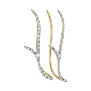 10kt Yellow Gold Womens Round Diamond Slender Climber Earrings 1/5 Cttw