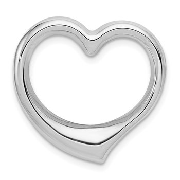 14k White Gold Heart Hollow Pendant Slide