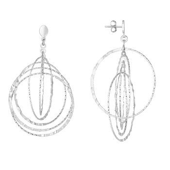 Silver Circle Drop Hammered Earring
