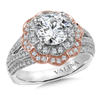 Valina Halo Engagement Ring Mounting in 14K White/Rose Gold (.58 ct. tw.)