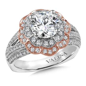 Halo Engagement Ring Mounting in 14K White/Rose Gold (.58 ct. tw.)