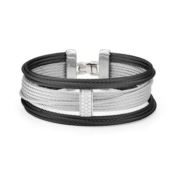 Black & Grey Large 3 Row Simple Stack Bracelet with 18kt White Gold &  Diamonds