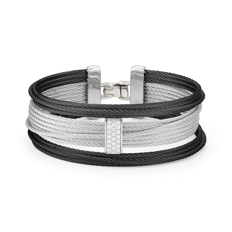 ALOR Black & Grey Large 3 Row Simple Stack Bracelet with 18kt White Gold &  Diamonds