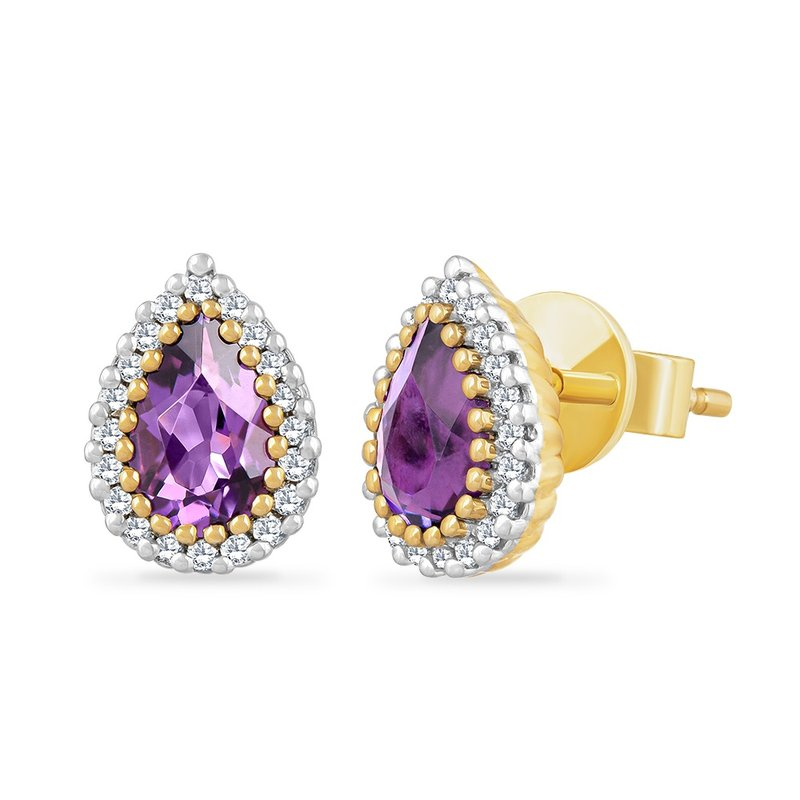 Shula NY 14K PEAR SHAPE AMETHYST EARRINGS WITH 40 DIAMONDS 0.14CT