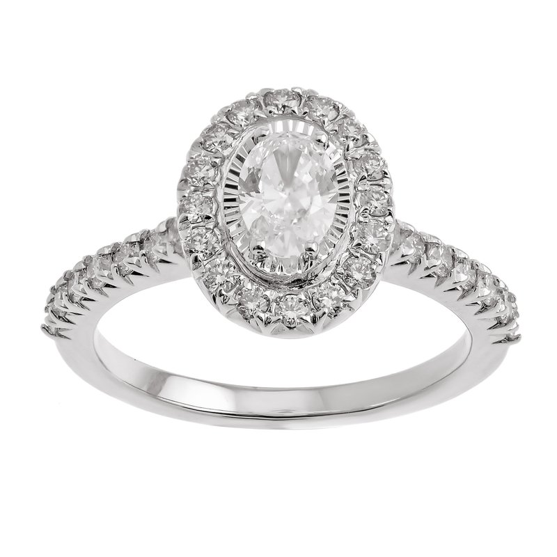 Gems One Oval Starburst Halo Diamond Engagement Ring in 14k White Gold (1ctw)
