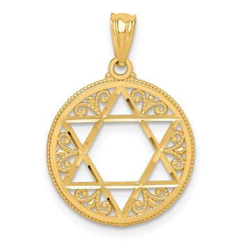 14k Filigree Star of David Pendant