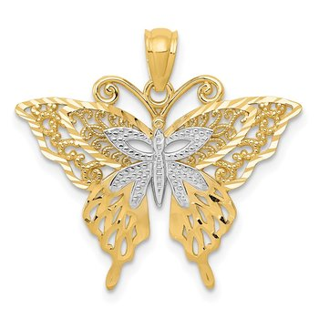 14k w/Rhodium Fancy Butterfly Pendant