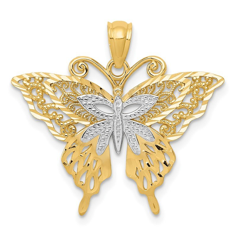 Quality Gold 14k w/Rhodium Fancy Butterfly Pendant