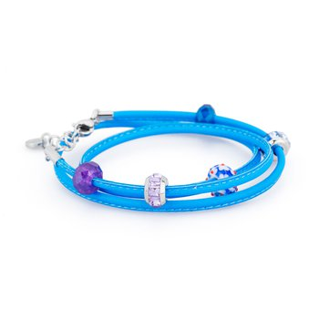 Bracelet. Fluo blue leather with 316L stainless steel elements, coloured glass, purple jade, blue jade and coloured Swarovski® Elements crystals