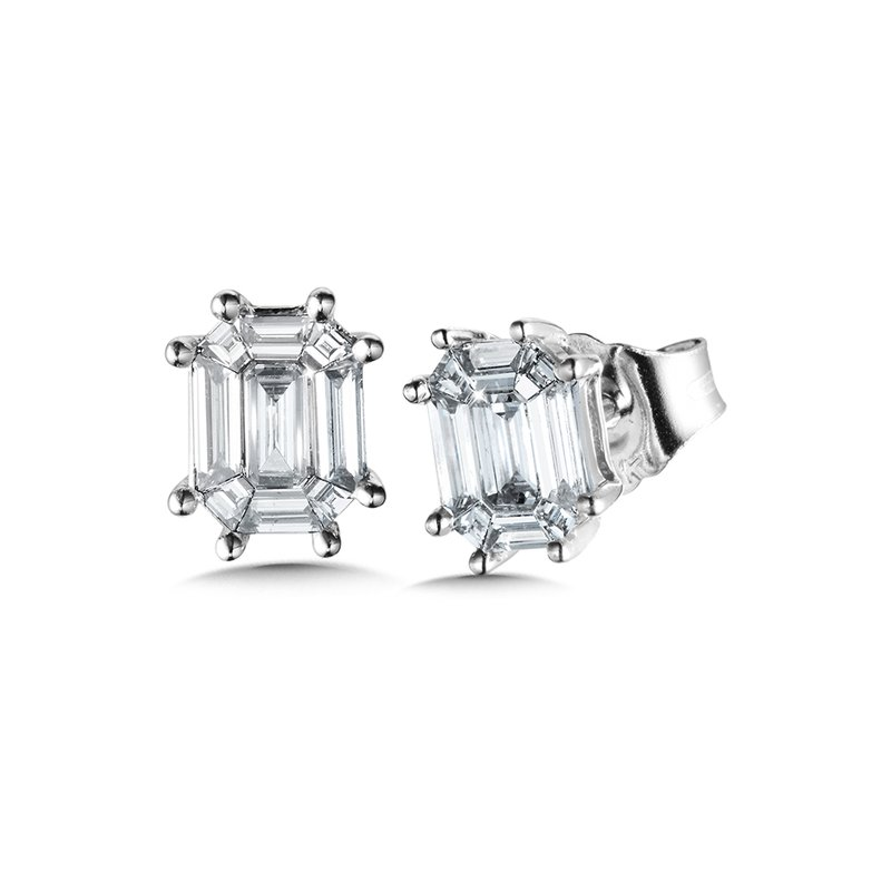 SDC Creations Plumb Collection Cluster Diamond Baguette Studs