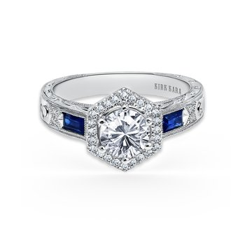 Sapphire Geometric Diamond Engagement Ring