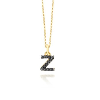 "Black Diamond Baby Block Initial ""Z"" Necklace"