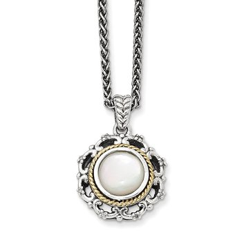 Sterling Silver w/14k Antiqued MOP and Diamond Necklace