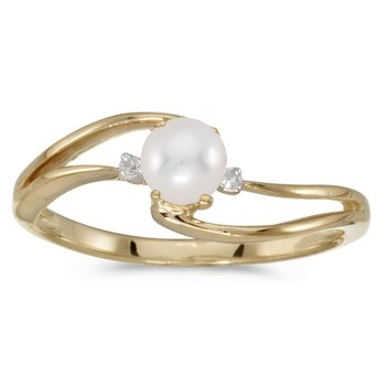 10k Yellow Gold Freshwater Cultured Pearl And Diamond Wave Ring