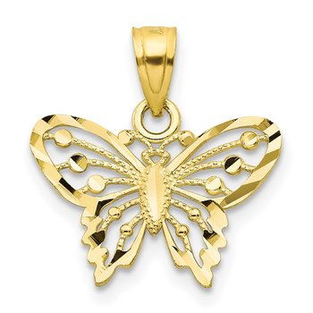 10k Diamond-Cut Butterfly Charm