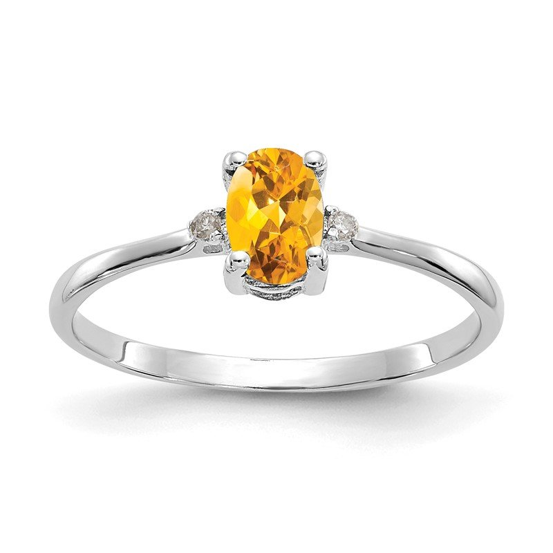 Quality Gold 10k White Gold Polished Geniune Diamond/Citrine Birthstone Ring
