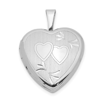 Sterling Silver Rhodium-plated 16mm D/C Double Hearts Heart Locket