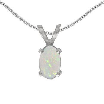 14k White Gold Oval Opal Pendant