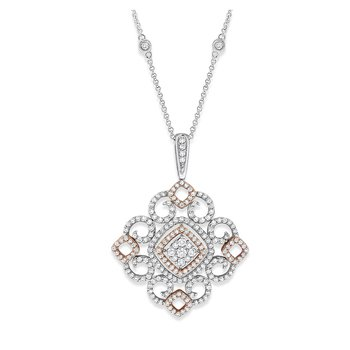 Diamond Lace Necklace in 14K White Gold with 133 Diamonds Weighing 1.37 ct tw