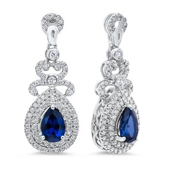 Silver Created Sapphire Earring