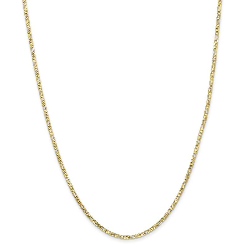 Quality Gold 10k 2.2mm Flat Figaro Chain