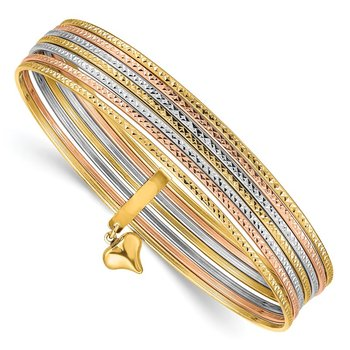 14K w/Dangle Heart Tri-color Set of 7 Textured Slip-on Bangles