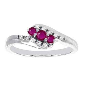 10k White Gold 3-stone Ruby and Diamond Accent Promise Ring