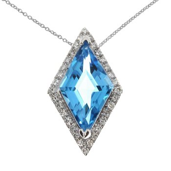 14K White Gold Triangle Blue Topaz Diamond Pendant