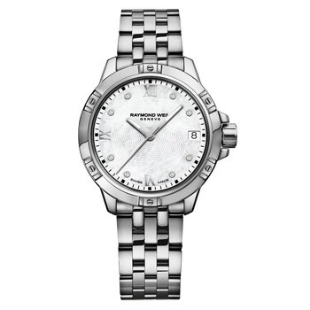 Ladies Quartz Date Watch, 30mm Steel on steel, 8 diamonds