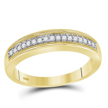 10kt Yellow Gold His & Hers Princess Diamond Cluster Matching Bridal Wedding Ring Band Set 1/2 Cttw