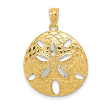 14k with White Rhodium Diamond-cut Polished Sand Dollar Pendant