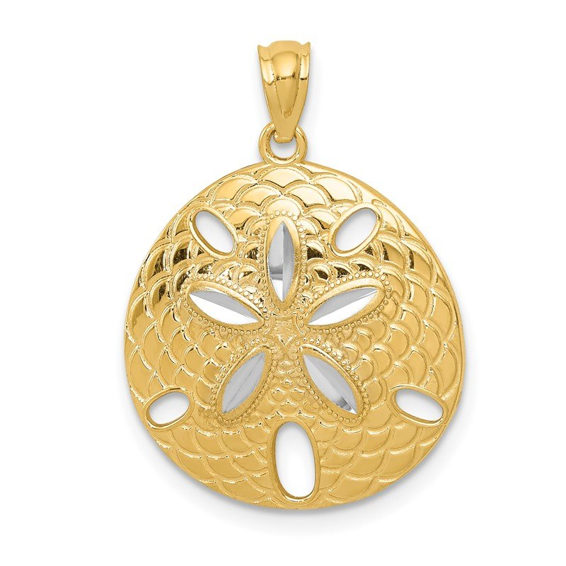 Quality Gold 14k with White Rhodium Diamond-cut Polished Sand Dollar Pendant