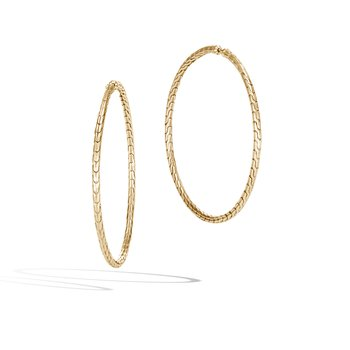 Classic Chain Large Hoop Earring in 18K Gold