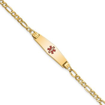 14K Medical Semi-Solid Soft Diamond Shape Red Enamel Cuban ID Bracelet