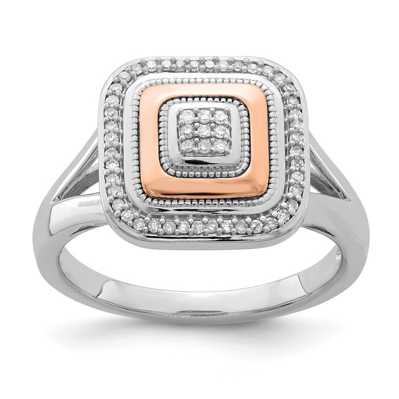 Quality Gold Sterling Silver Rhodium & 14K Rose Gold Ring